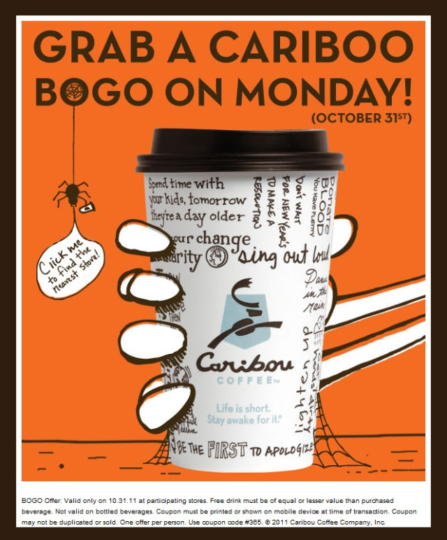 halloween bogo at caribou coffee